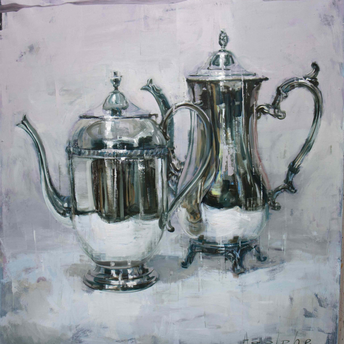 """Oil on canvas painting of two shiny, silver, antique teapots by Joseph Adolphe titled """"Anniversary no. 33."""""""