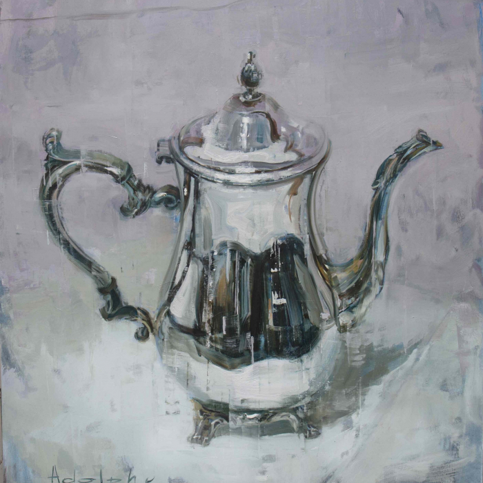 """Oil on canvas painting of a shiny, silver, antique teapot by Joseph Adolphe titled """"Anniversary no. 33."""""""