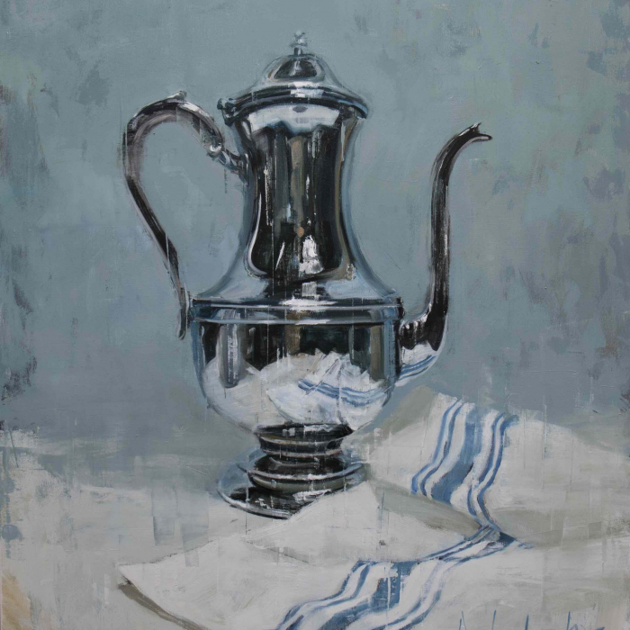 """Oil on canvas painting of a shiny, silver, antique teapot with a white and blue striped cloth by Joseph Adolphe titled """"Anniversary no. 37."""""""