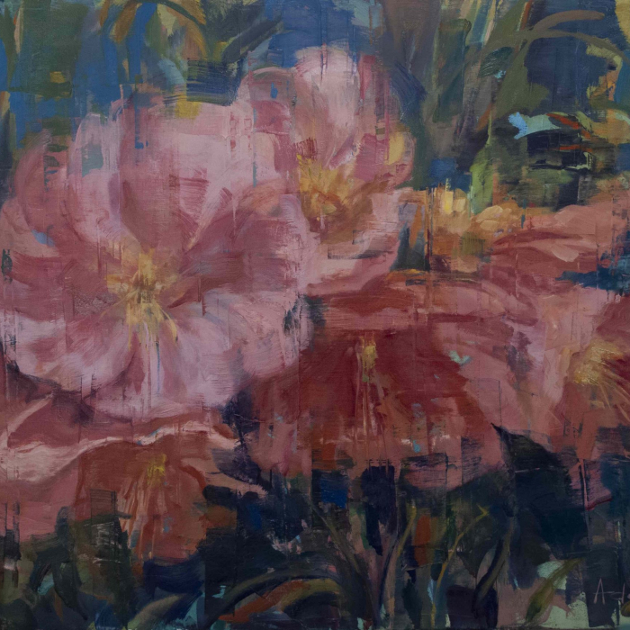 """Oil on canvas painting of large pink blooms and green leaves against a blue background by Joseph Adolphe titled """"Flourish."""""""