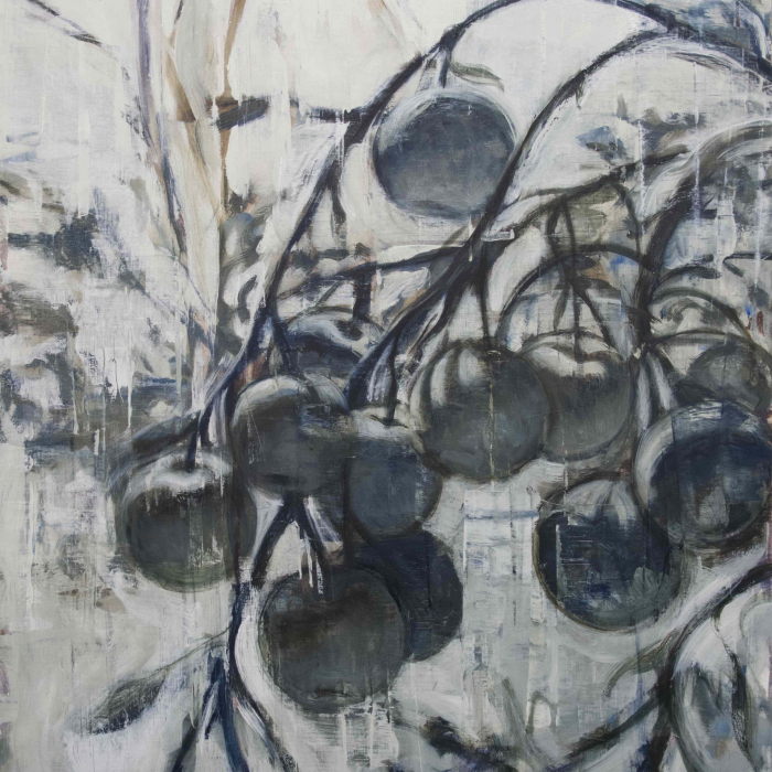 """Oil on linen painting of a branch bending from the weight of its fruit, in black and white, by Joseph Adolphe titled """"Last Fruit."""""""