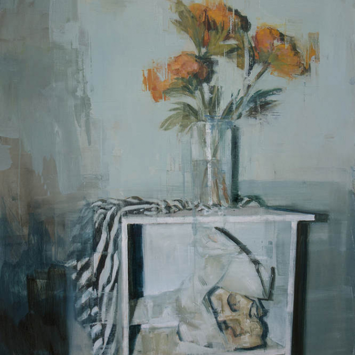 """Oil on canvas painting of still life including orange flowers, a black striped cloth, and a skull by Joseph Adolphe titled """"Still Life no. 9."""""""