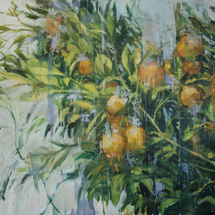 """Oil on canvas painting of the lush and fully fruited branches of an orange tree by Joseph Adolphe titled """"The Orange Tree."""""""