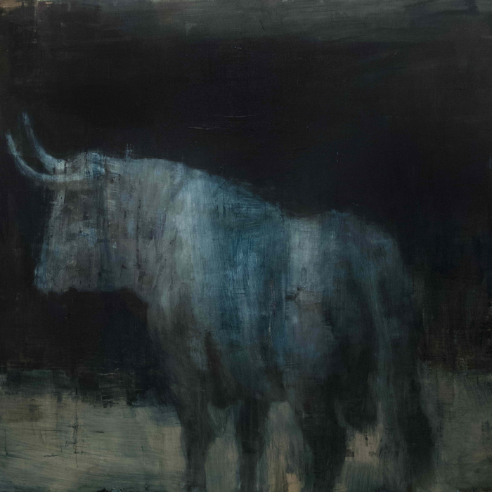 """Oil on linen painting of bull, lit as if by moonlight, against an abstracted black background by Joseph Adolphe titled """"Toro Bravo 45."""""""