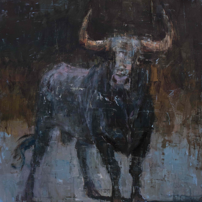 """Oil on canvas painting of a bull with horns raised as if poised to charge against an abstracted dark background by Joseph Adolphe titled """"Toro Bravo no. 66."""""""