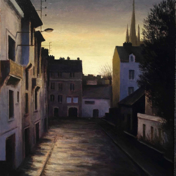 """Oil on canvas painting of town at sunset by Marc Chalmé titled """"Après la Pluie."""""""