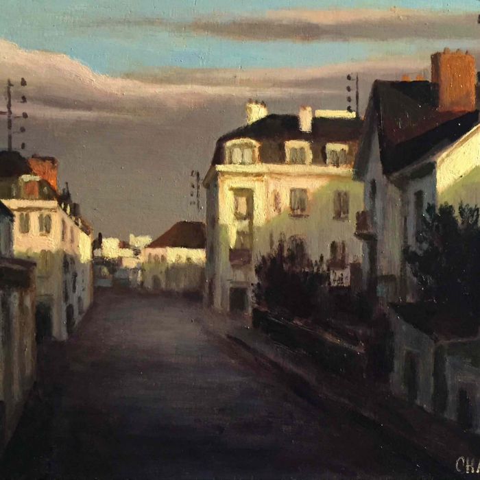 """Oil on board of a town at sunrise by Marc Chalmé titled """"Au Matin."""""""