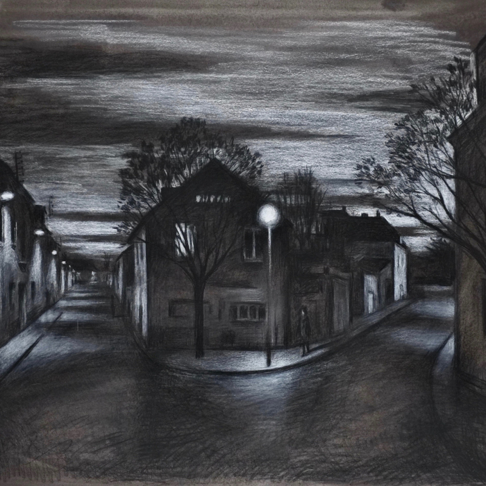 """Charcoal drawing of a road forking through a town lit by streetlights at nightfall by Marc Chalmé titled """"Au Point de la Nuit."""""""
