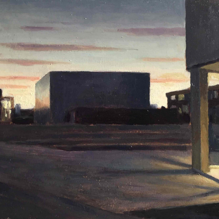 """Oil on board painting of an industrial space at dusk by Marc Chalmé titled """"Crépuscule."""""""