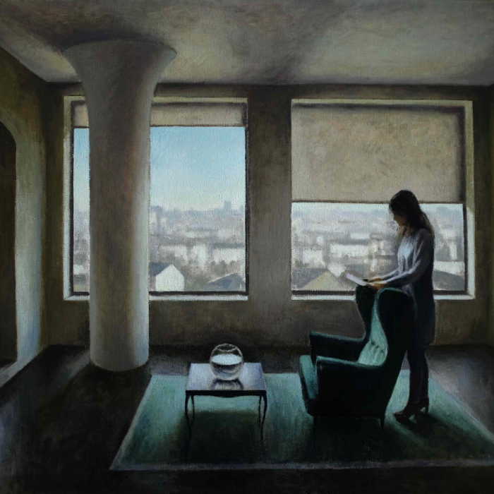 """Oil on canvas painting of a stylized, modern living room with a woman reading a letter beside windows with a view of a town's rooftops by Marc Chalmé titled """"La Lettre."""""""
