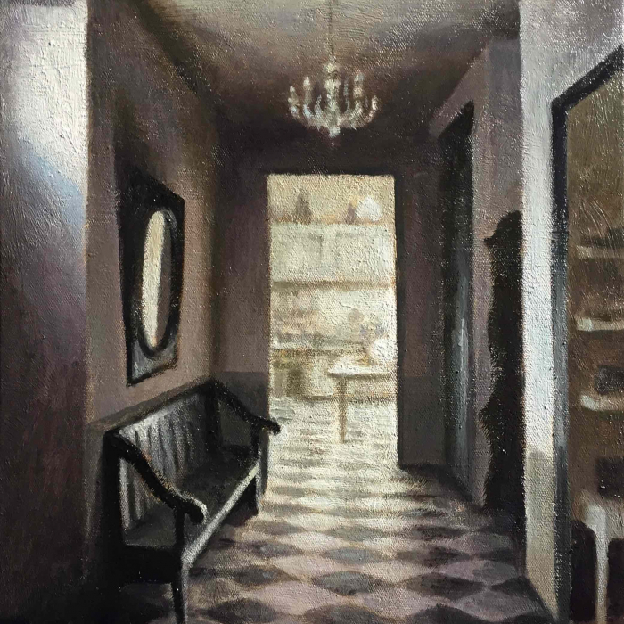 """Oil on board painting of hallway's checkerboard floor, chandelier, bench, and mirror and the kitchen beyond by Marc Chalmé titled """"Le Couloir."""""""