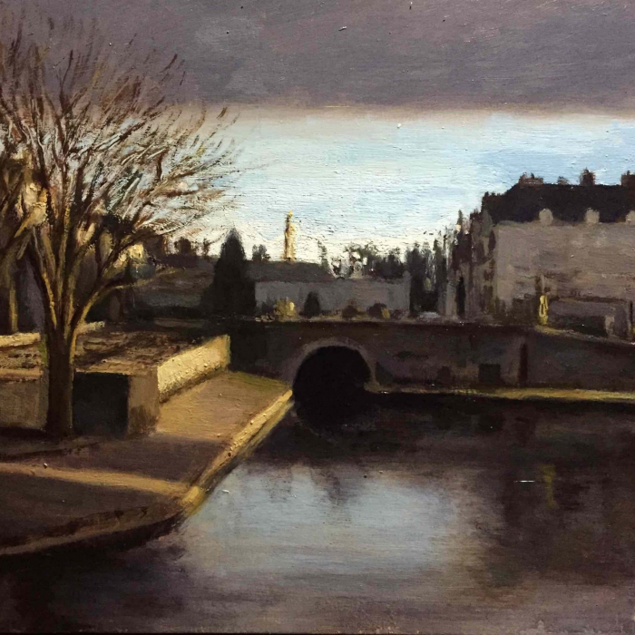 """Oil on board painting of an arched bridge over body of water leading to a classic, European town by Marc Chalmé titled """"Le Tunnel."""""""