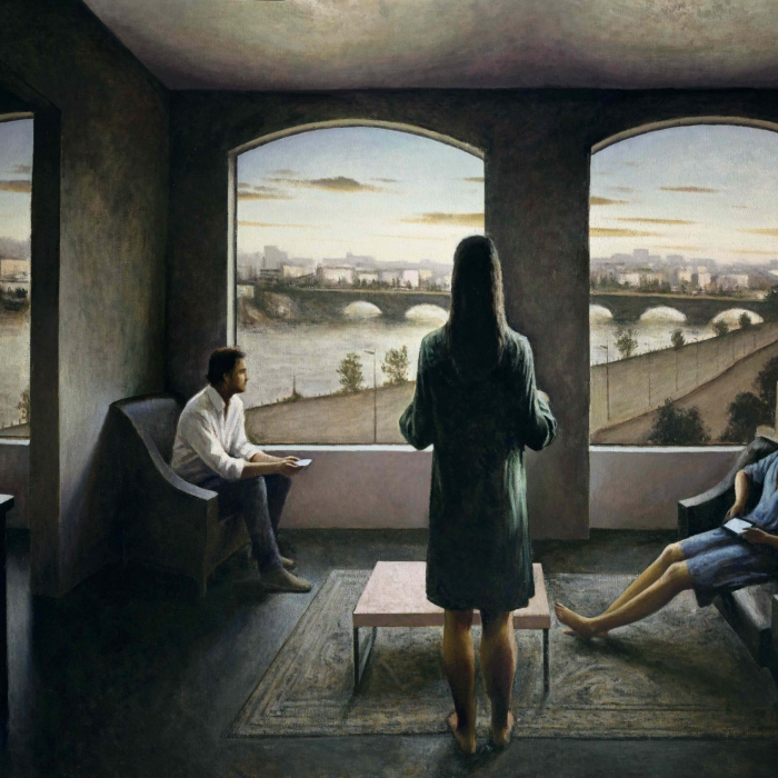"""Oil on canvas painting of a stylized, modern living room with three figures variously looking at smartphones or the view of an arched bridge across water through the windows by Marc Chalmé titled """"L'eau et les Rêves."""""""