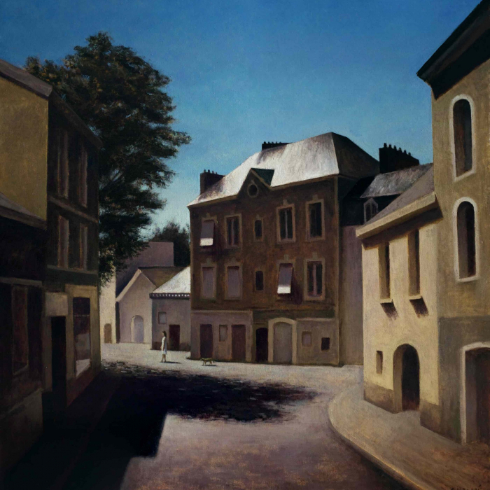 """Oil on canvas painting of a sunny street lined with classic, European townhomes and a lone lady walking with her dog by Marc Chalmé titled """"Macondo."""""""