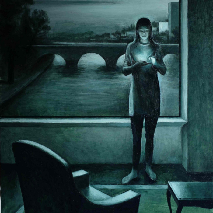 """Oil on canvas painting in shades of green of a modern living room with a woman staring at a smartphone as she stands against a window framing a view of a bridge by Marc Chalmé titled """"Monochrome I."""""""