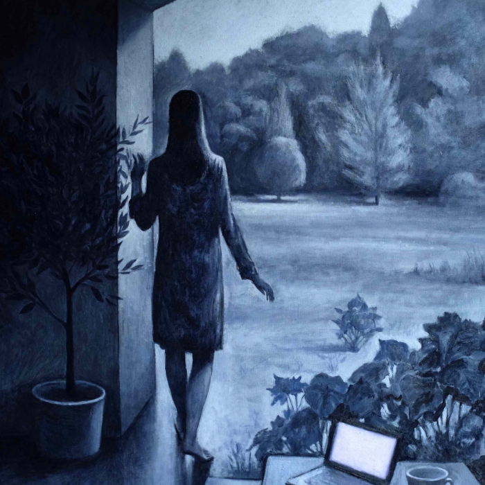 """Oil on canvas painting in shades of blue of a living room encroached upon by flowers as a woman walks through the archway into the landscape beyond by Marc Chalmé titled """"Monochrome II."""""""