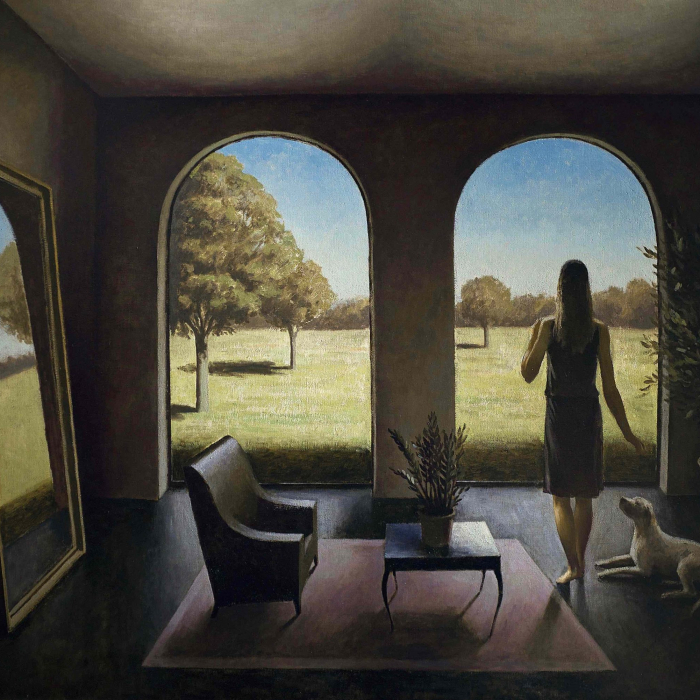 """Oil on canvas painting of a stylized, modern living room with a dog and woman looking out archways onto a sunny landscape beyond by Marc Chalmé titled """"Pour les Arbres."""""""