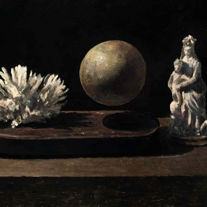 """Oil on board painting of white coral, a floating sphere, and a religious statuette by Marc Chalmé titled """"Still Life I."""""""