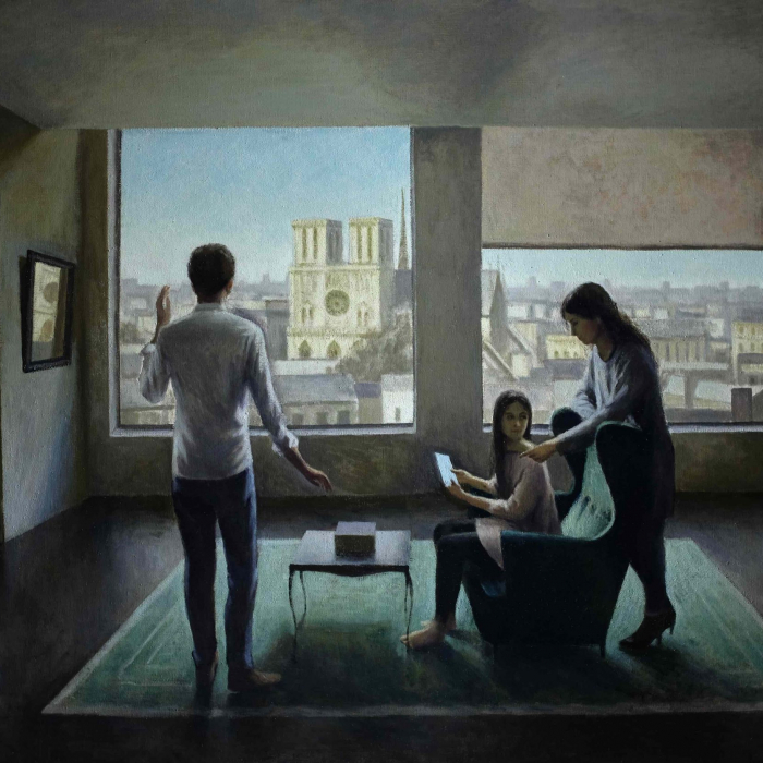 """Oil on canvas painting of a stylized, modern living room with three figures variously looking at a tablet or the view of Notre Dame through the windows by Marc Chalmé titled """"Those Who Dream by Day."""""""