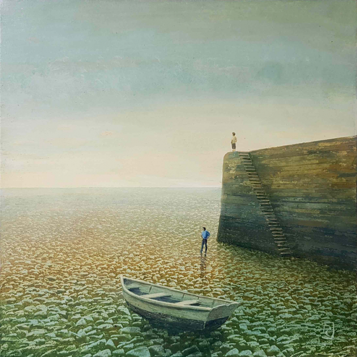 """Oil on board painting of a grounded rowboat and figures, both wading and standing atop a wall, amidst a vast, watery yet desert landscape by Philippe Charles Jacquet titled """"Échouage."""""""