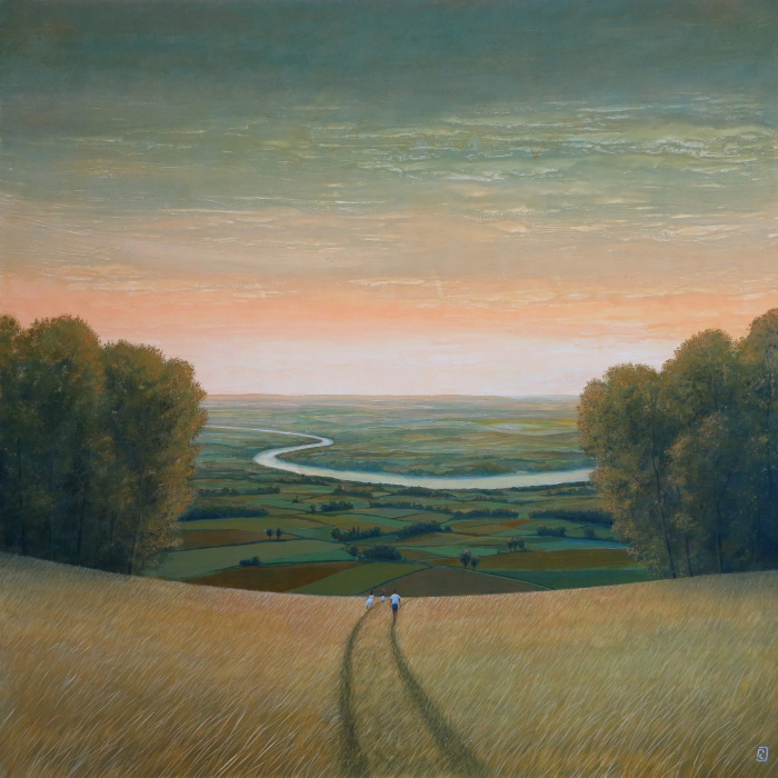 """Oil on board painting of youths walking through a golden field toward the countryside spread in the valley below by Philippe Charles Jacquet titled """"En Chemin."""""""