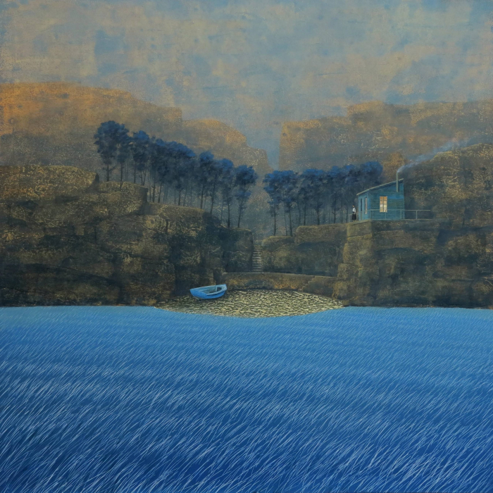 """Oil on board painting of a woman beside her home in the cliffs above a vast, blue wetland by Philippe Charles Jacquet titled """"Femme au Foyer."""""""