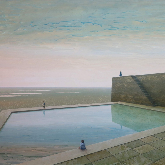 """Oil on board painting of figures sitting and standing around a pool beside a classic stone house amidst a vast, watery and yet desert landscape by Philippe Charles Jacquet titled """"Le Grand Bain."""""""