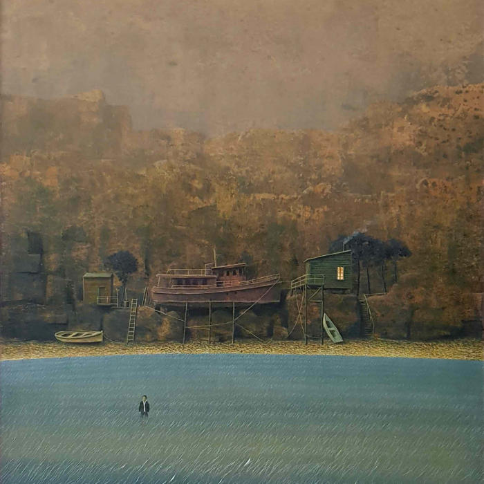 """Oil on board painting of a man wading in blue wetlands in front of his aground boat and home with cliffs beyond by Philippe Charles Jacquet titled """"Les Échoués."""""""