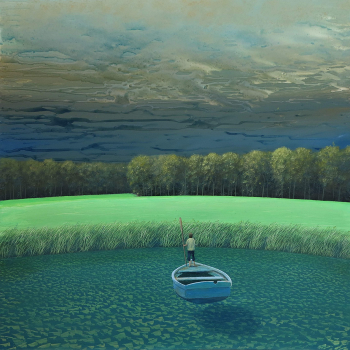 """Oil on board painting of a man standing in a blue row boat approaching a lush field with forest beyond by Philippe Charles Jacquet titled """"Pied à Terre."""""""