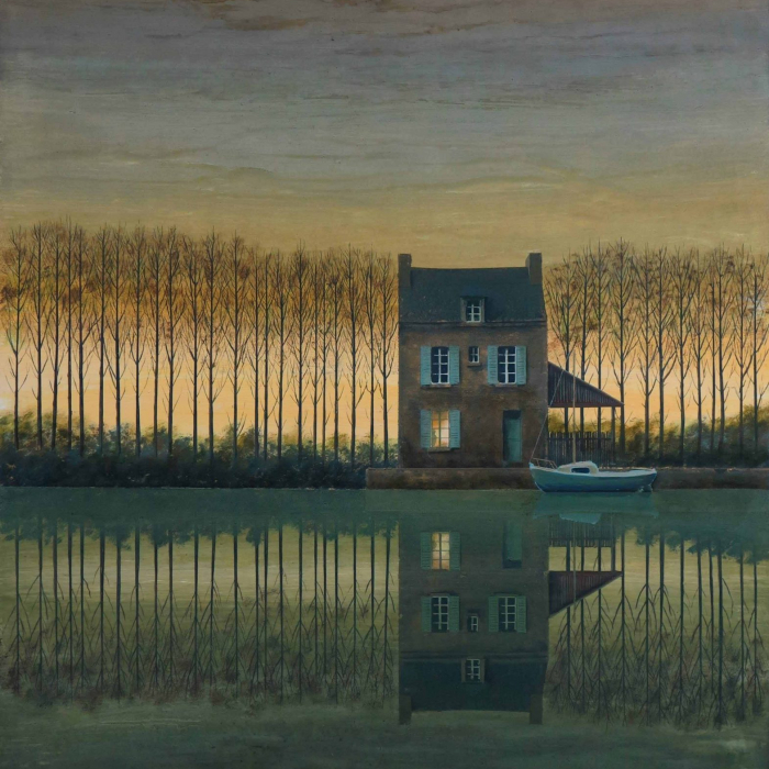 """Oil on board painting of a sailboat docked in front of a house among trees at sunset, all reflected in the still water, by Philippe Charles Jacquet titled """"Une Vie Tranquille."""""""