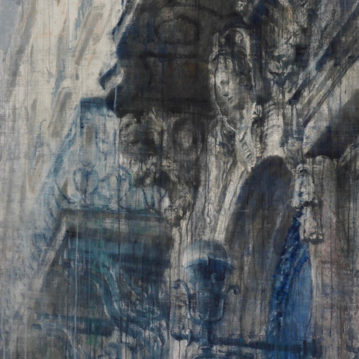 """Watercolor on Arches paper of Paris's classical, architectural relief by Chizuru Morii Kaplan titled """"Along the Seine III."""""""