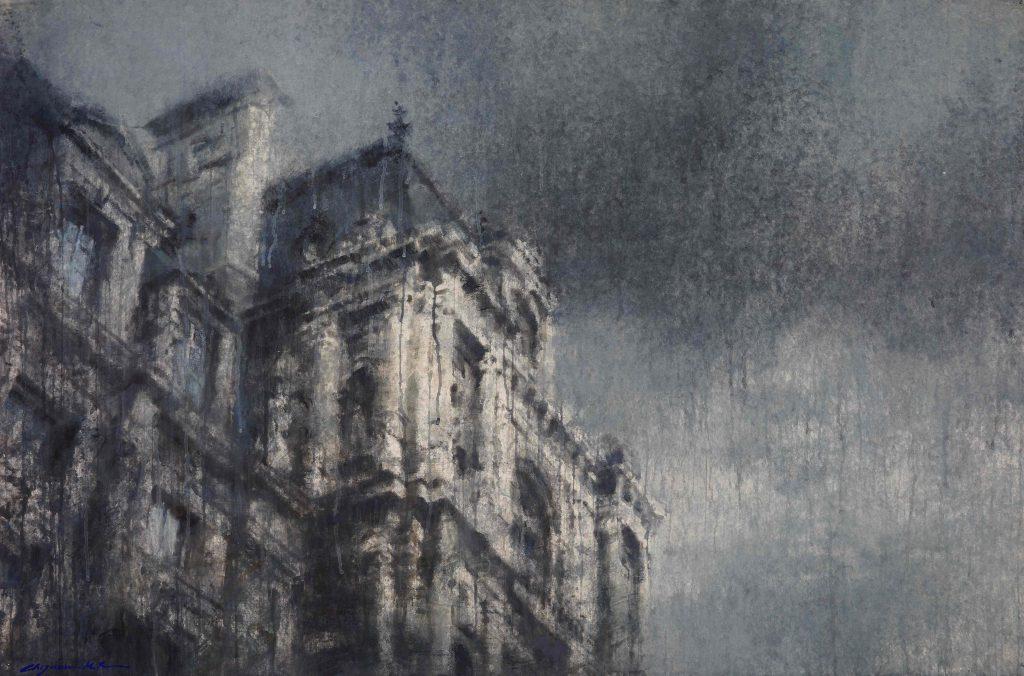 "Watercolor on Arches paper of Paris's quintessential architecture by Chizuru Morii Kaplan titled ""Hotel deVille, Paris II."""