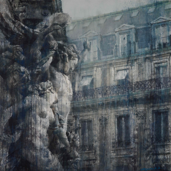 """Watercolor on Arches paper of classical sculpture in the foreground, full of movement and romance, and Paris' signature architecture in the background by Chizuru Morii Kaplan titled """"La Dance II."""""""