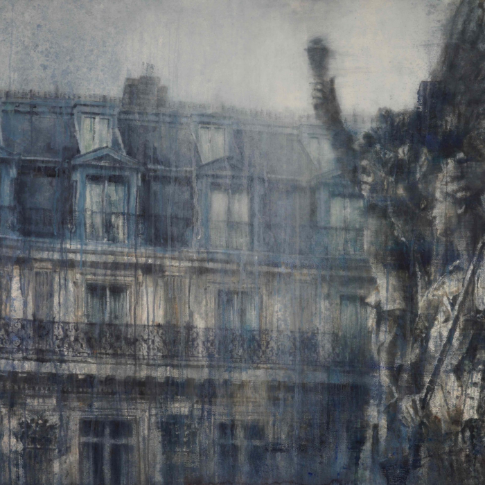 """Watercolor on Arches paper of classical sculpture in the foreground, full of movement and romance, and Paris' signature architecture in the background by Chizuru Morii Kaplan titled """"Music of Paris."""""""