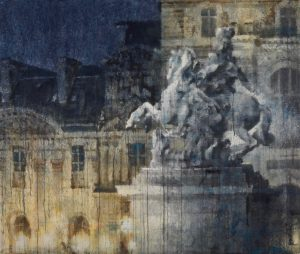"""Watercolor on Arches paper of a statue in the foreground and segment of the Louvre in the background, lit by spotlights in the dark, by Chizuru Morii Kaplan titled """"Night Louvre."""""""