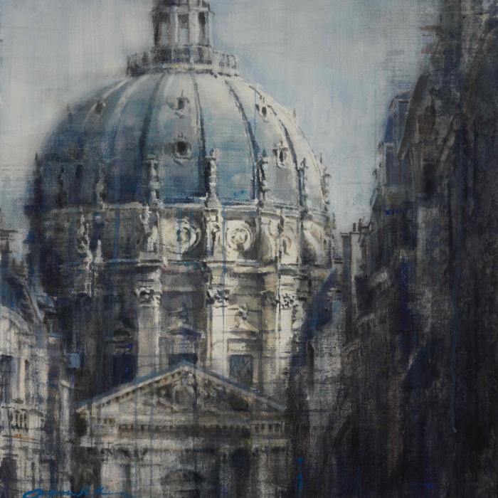 "Watercolor on Arches paper of Paris's quintessential architecture by Chizuru Morii Kaplan titled ""Paris Grace II."""