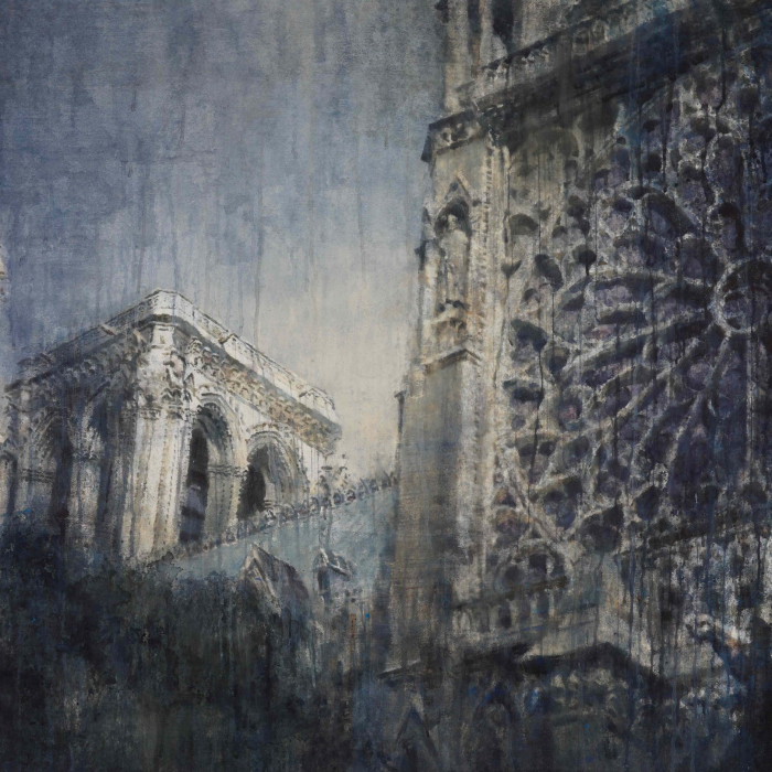 """Watercolor on Arches paper of an angled view of Notre Dame's rose window and tower by Chizuru Morii Kaplan titled """"Rose Window III."""""""