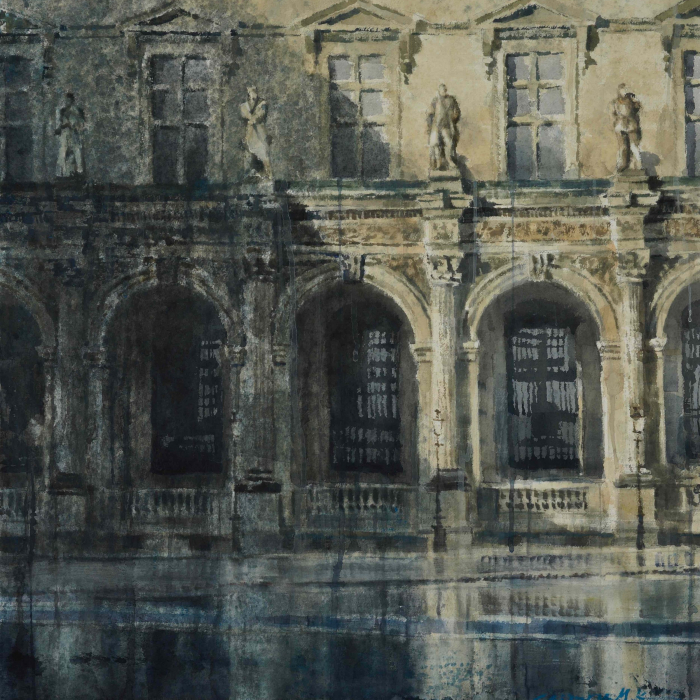 """Watercolor on Arches paper of a segment of the Louvre's exterior showing arched windows, balconies, and statues by Chizuru Morii Kaplan titled """"The Louvre VII."""""""