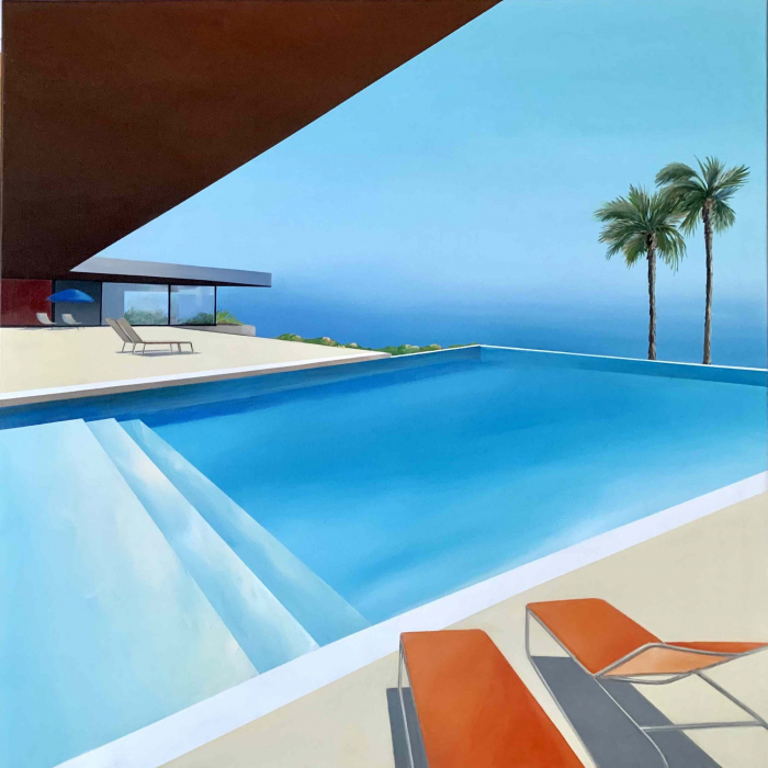 """Acrylic and oil on canvas painting of a modern home and infinite swimming pool in sunny California under a bright blue sky with the Pacific Ocean in the background by Daniel Raynott titled """"Blue Sky."""""""