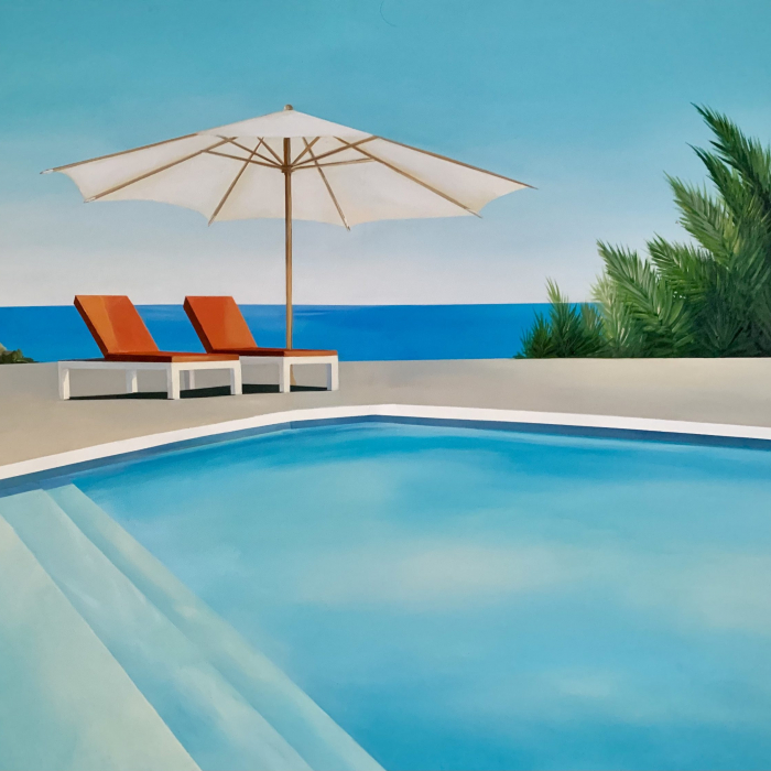 """Acrylic and oil on canvas painting of modern chaises and an umbrella poolside in sunny California with the Pacific Ocean in the background by Daniel Raynott titled """"California Dream."""""""