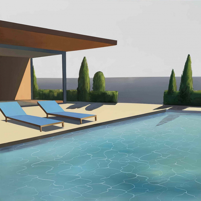 """Acrylic and oil on canvas painting of a modern home and swimming pool in California under a grey sky at dusk with the Pacific Ocean in the background by Daniel Raynott titled """"California Evening."""""""