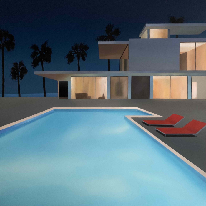 """Acrylic and oil on canvas painting of a modern home, lit against a dark skyAcrylic and oil on canvas painting of a modern home, its interior lit against a dark sky, and swimming pool in California with the Pacific Ocean in the background by Daniel Raynott titled """"California Night."""", and swimming pool in California with the Pacific Ocean in the background by Daniel Raynott titled """"California Night."""""""