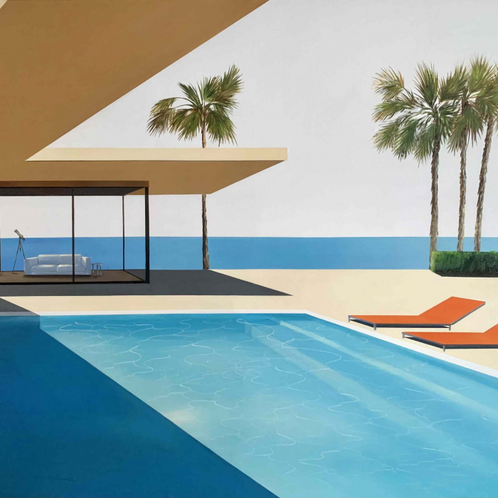 """Acrylic and oil on canvas painting of a modern home, decorated with a telescope, and swimming pool in sunny California with the Pacific Ocean in the background by Daniel Raynott titled """"Dream View."""""""