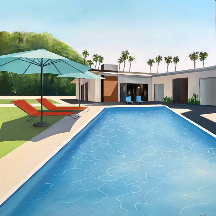 """Acrylic and oil on canvas painting of a modern home and swimming pool in sunny California with palm trees and mountains in the background by Daniel Raynott titled """"Palm Spring Villa."""""""