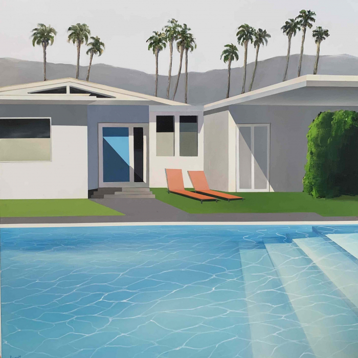 """Acrylic and oil on canvas painting of a modern home and swimming pool in California with palm trees and mountains in the background by Daniel Raynott titled """"South California."""""""