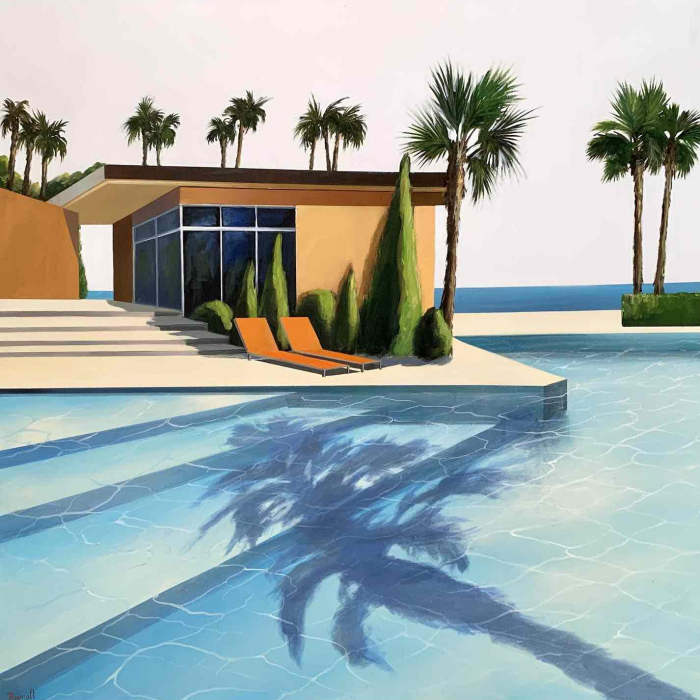 """Acrylic and oil on canvas painting of a modern home and swimming pool in sunny California with palm trees and the Pacific Ocean in the background by Daniel Raynott titled """"Sunny Afternoon."""""""