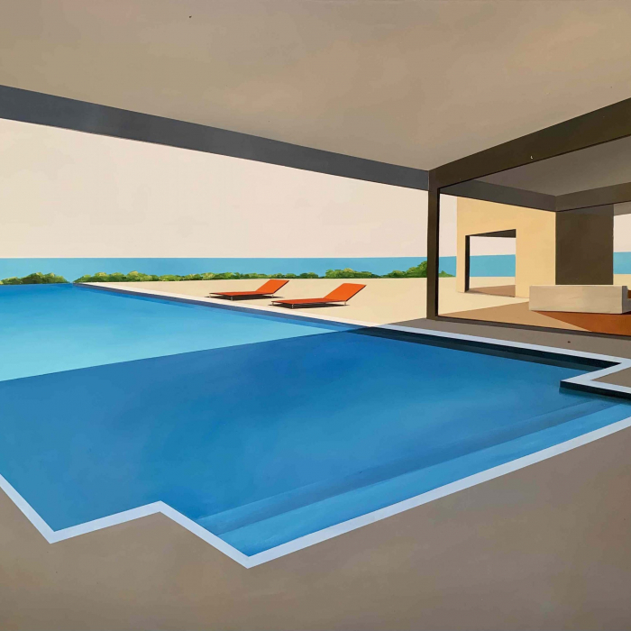 """Acrylic and oil on canvas painting of a modern home and infinite swimming pool in sunny California with the Pacific Ocean in the background by Daniel Raynott titled """"The Open Sea."""""""