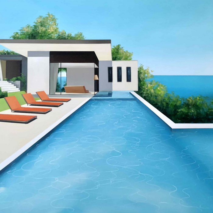 """Acrylic and oil on canvas painting of a modern home and swimming pool in sunny California with the Pacific Ocean in the background by Daniel Raynott titled """"West Coast."""""""
