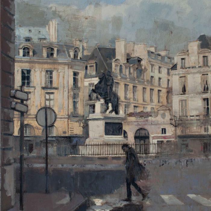 """""""2 Place des Victoires (silver)"""", oil on canvas, 39"""" x 19"""" (99 x 48cm)"""