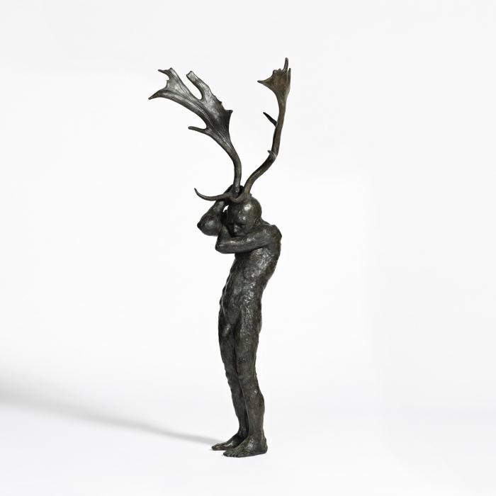 """Antler figure"", bronze, 56"" x 22"" x 19"" (142 x 56 x 48cm)"